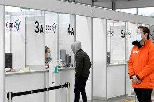 A person arrives to get tested on the coronavirus disease at the XL test facility, in Utrecht, Netherlands.