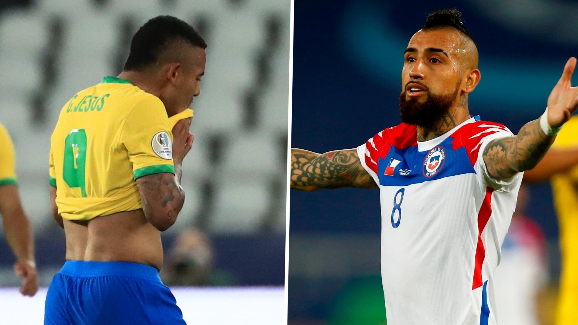 """Gabriel Jesus, de Brasil, se muestra en rojo por el desafío de kung-fu de terror mientras Vidal, de Chile, vence al """"payaso"""" como árbitro de la Copa América"""