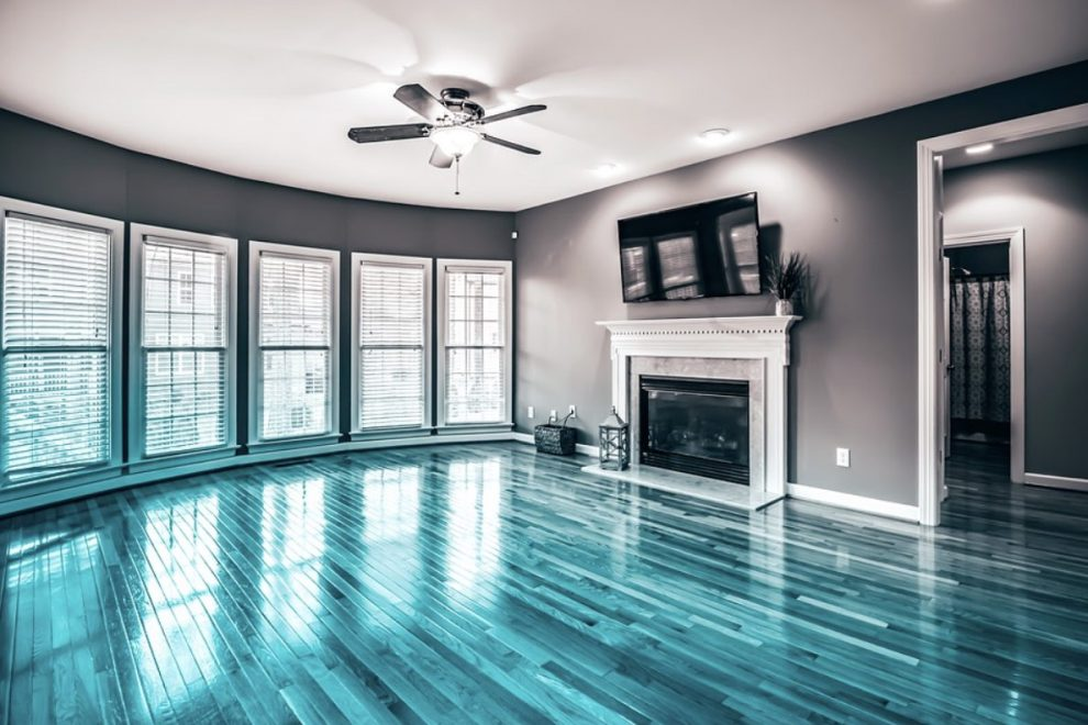 salon suelo azul